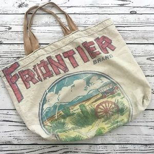 Vintage Frontier western feed sack linen tote bag